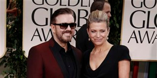 "Ricky Gervais, left, and Jane Fallon have dated for 36 years. The comedian told David Letterman, ""I don't think there's any point to us getting married."""