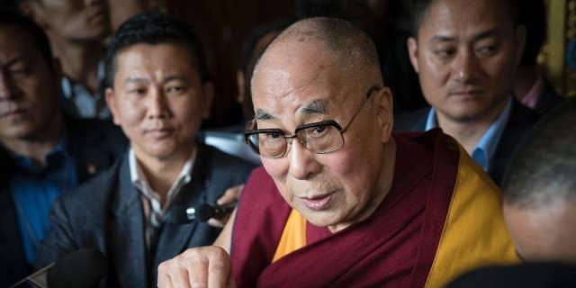 Tibetan spiritual leader the Dalai Lama, talks to the media after consecrating the Thupsung Dhargyeling Monastery in Dirang, Arunachal Pradesh, India, in 2017. (AP Photo/ Tenzin Choejor)
