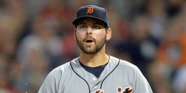 Sep 16, 2016; Cleveland, OH, USA; Detroit Tigers starting pitcher Michael Fulmer (32) reacts after being called for a balk during the third inning against the Cleveland Indians at Progressive Field. Mandatory Credit: Ken Blaze-USA TODAY Sports