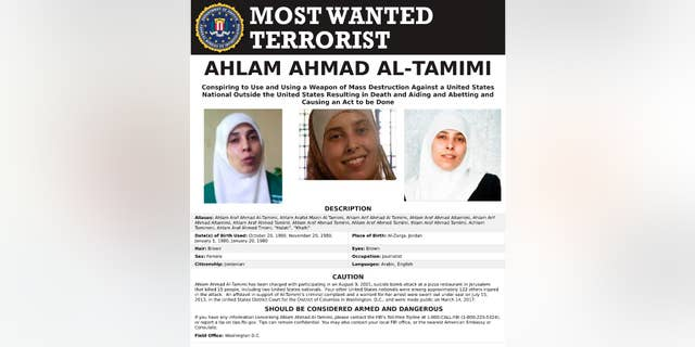 This image provided by the FBI is the most wanted poster for Ahlam Aref Ahmad Al-Tamimi, a Jordanian woman charged in connection with a 2001 bombing of a Jerusalem pizza restaurant that killed 15 people and injured dozens of others. The case against Ahlam Aref Ahmad Al-Tamimi was filed under seal in 2013 but announced publicly by the Justice Department on March 14, 2017. (FBI via AP)