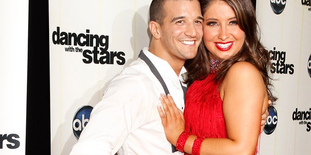 """Bristol Palin, daughter of former Alaska Governor Sarah Palin, and professional dancing partner Mark Ballas pose backstage after the premiere of ABC's series """"Dancing with the Stars Season 11"""" in Los Angeles September 20, 2010. REUTERS/Fred Prouser (UNITED STATES - Tags: ENTERTAINMENT) - RTXSGZG"""