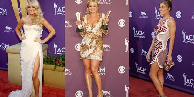 Carrie Underwood, Miranda Lambert and LeAnn Rimes on the red carpet at the ACM Awards.