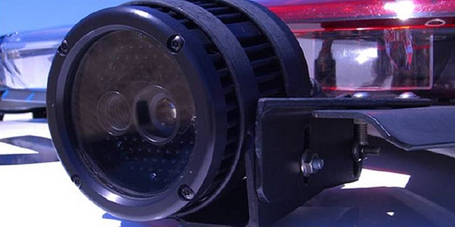 Automatic license plate readers like the one seen here are mounted atop a police cruiser and utilize both an infrared and a color camera. (Los Angeles County Sheriff's Department)