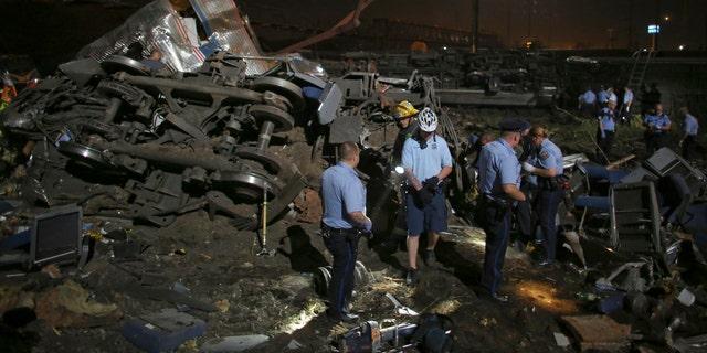 The scene of the Philadelphia train wreck