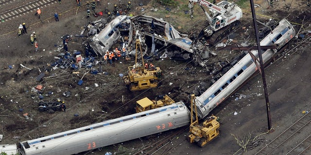 The engine and all seven cars of the Northeast Regional Train overturned, throwing passengers, luggage and chunks of metal into a mangled mess.
