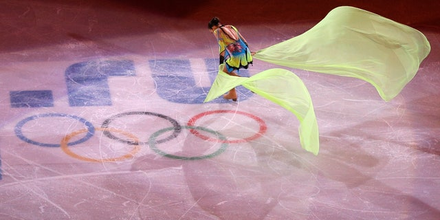 Adelina Sotnikova of Russia performs during the figure skating exhibition gala at the Iceberg Skating Palace during the 2014 Winter Olympics, Saturday, Feb. 22, 2014, in Sochi, Russia. (AP Photo/Vadim Ghirda)