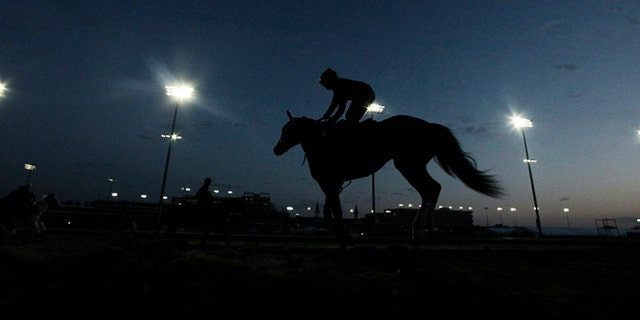 May 2, 2012: Horses workout before the sun come up at Churchill Downs in Louisville, Kentucky.