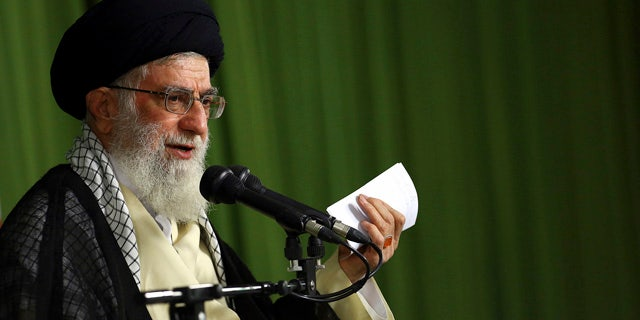 August 13, 2014: In this picture released by an official website of the office of the Iranian supreme leader, Supreme Leader Ayatollah Ali Khamenei speaks in a meeting with Iranian ambassadors in Tehran. (AP Photo/Office of the Iranian Supreme Leader)