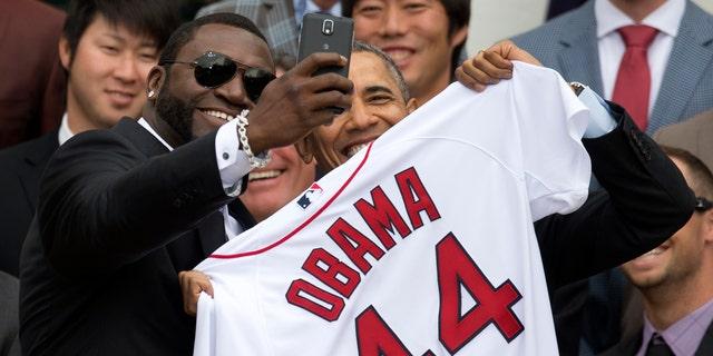 Boston Red Sox player David 'Big Papi' Ortiz takes a selfie with President Barack Obama Tuesday, April 1, 2014.