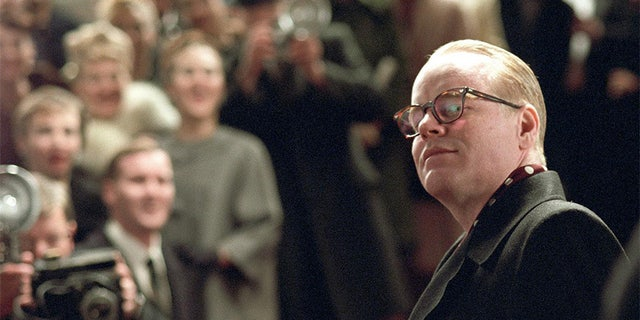 """Philip Seymour Hoffman as Truman Capote in scene from movie """"Capote."""""""