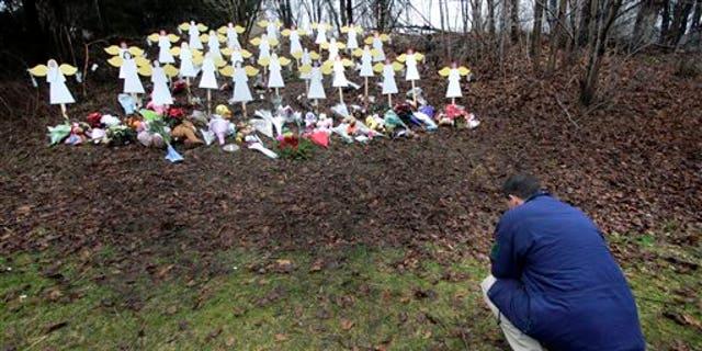 A memorial to Sandy Hook Elementary School shooting victims in Newtown, in 2012.