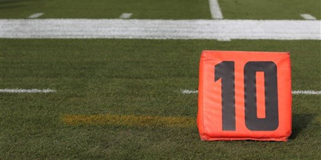 A detail view of a 10 yard line marker is seen prior to an NFL football game against the Jacksonville Jaguars at EverBank Field on Sunday, Oct. 18, 2015 in Jacksonville, Fla. (Perry Knotts via AP)