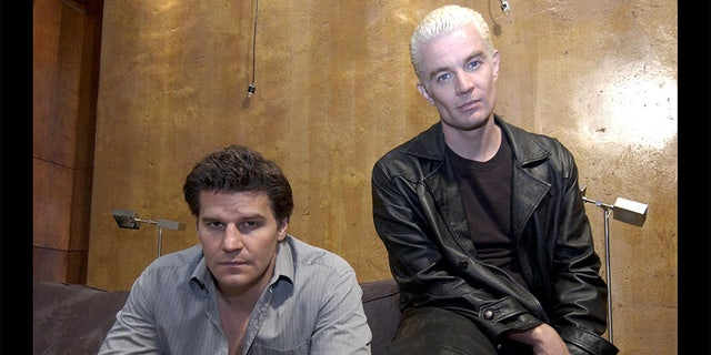 """James Marsters (left) as Spike with co-star David Boreanaz, who played Angel, on """"Buffy the Vampire Slayer."""""""