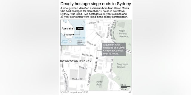 UPDATES with details of deaths; graphic locates the Lindt Cafe where a lone gunman held hostage in downtown Sydney for more than 16 hours; 2c x 4 1/4 inches; 96.3 mm x 107 mm;