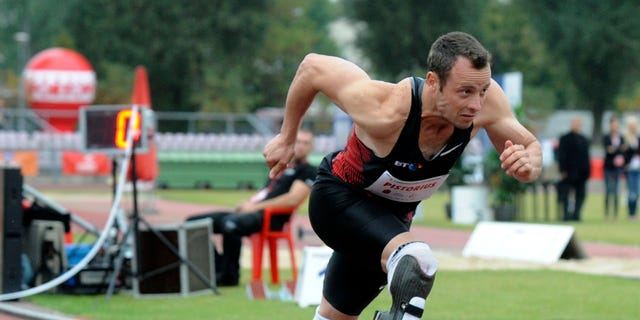 Sept. 20, 2011: In this file photo, South Africa's Oscar Pistorius runs in the 400 meter race during the track and field meeting dedicated to the late Polish Olympic champion Kamila Skolimowska, in Warsaw, Poland.