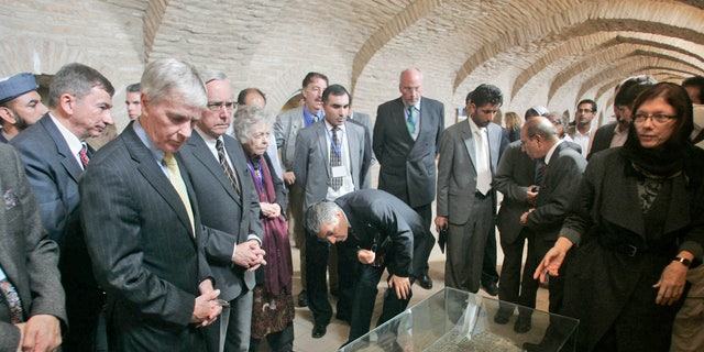 Oct. 16, 2011: U.S. Ambassador to Afghanistan Ryan Crocker, left, tours the new museum at the Qala Iktyaruddin Citadel, during the opening of the restored Herat Citadel in Herat, Afghanistan. An ancient citadel in Herat that dates back to Alexander the Great has been restored, a bright sign of progress in a country destroyed by war.