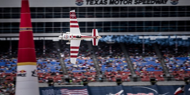 Paul Bonhomme of Britain performs during the finals for the sixth stage of the Red Bull Air Race World Championship at the Texas Motor Speedway in Fort Worth, Texas on Sept. 7.