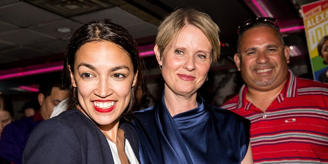Progressive challenger Alexandria Ocasio-Cortez (left) is joined by New York gubernatorial candidate Cynthia Nixon at her victory party in the Bronx after upsetting incumbent Democratic Rep. Joseph Crowley.