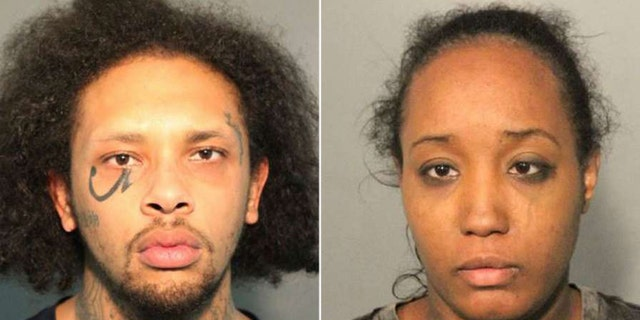 """Jonathan Allen, left, and Ina Rogers, right, were arrested after police said they found 10 children living in """"horrible"""" conditions in their Fairfield, California home."""