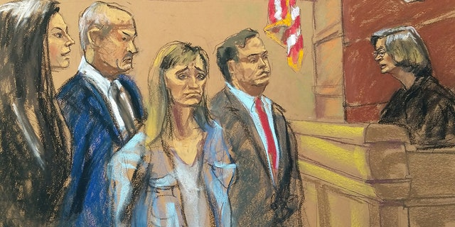 From left to right: Ausa Moira Penza, McGovern, Allison Mack and Sean Buckley in a federal court in Brooklyn, NY, on Friday, April 20, 2018.
