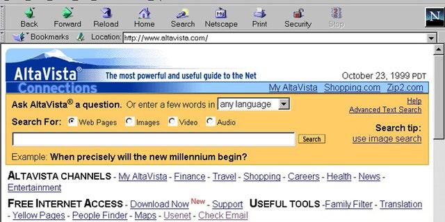 A screenshot of the Altavista search engine, circa 1999.