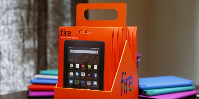 The new Amazon Fire tablet six pack is displayed during a media event introducing new Amazon products in San Francisco, Calif. Sept. 16, 2015.