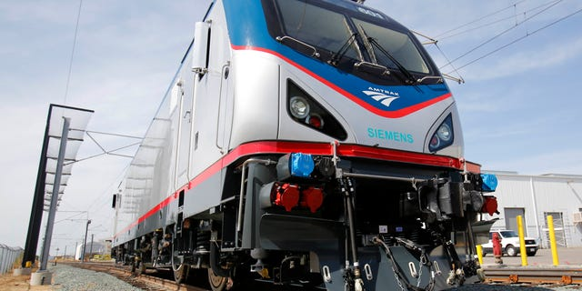 In this photo is one of the new Amtrak Cities Sprinter Locomotives built by Siemens Rails Systems in Sacramento, Calif. The new electric locomotive, one of three of 70 to be built,  will run on the Northeast intercity rail lines and  replace Amtrak locomotives that have been in service for 20 to 30 years.