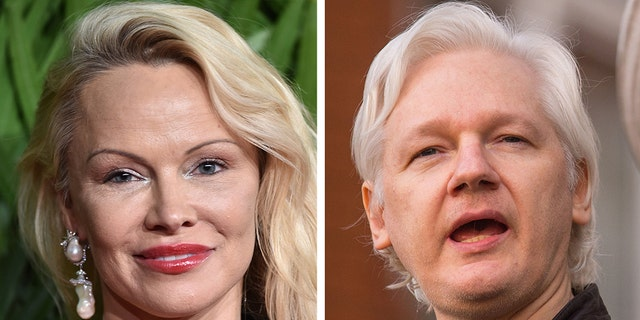 """Former Playboy centerfold and """"Baywatch"""" star Pamela Anderson wants to save the world with WikiLeaks founder Julian Assange. (ZUMAPress)"""