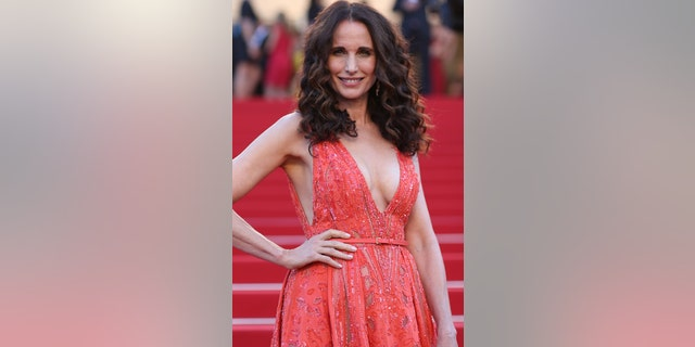 Andie MacDowell poses for photographers upon arrival for the screening of the film Inside Out at the 68th international film festival, Cannes, southern France, Monday, May 18, 2015. (AP Photo/Thibault Camus)