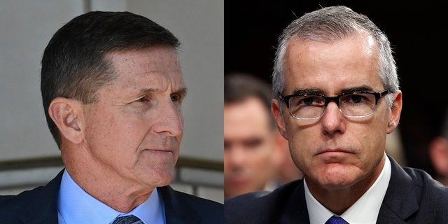 Michael Flynn, left, is on the brink of financial ruin, selling his Virginia home in order to pay his mounting legal bills. Meanwhile, Andrew McCabe, right, raised an extraordinary $400,000 online from 10,000 people in one day to pay his lawyers.