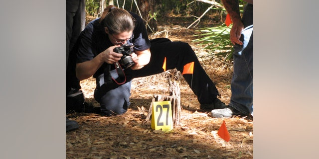 Nov. 11: Diane Robinson of the American Humane Association marks and photographs details of a staged crime scene during a veterinary forensics seminar at the University of Florida in Gainesville, Fla.