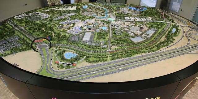 An architectural model view of the Dubai Parks and Resorts complex is displayed in Dubai, United Arab Emirates, Tuesday, March 1, 2016.