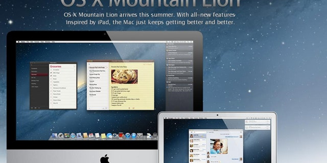 """A screenshot of the Apple.com website, where the company is showing off early images from a forthcoming """"Mountain Lion"""" update to its operating system."""