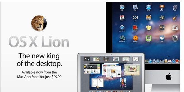A screenshot of the Apple website touting the company's newest version of its operating system, named OS X Lion.