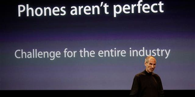 Apple CEO Steve Jobs talks about the Apple iPhone 4 at Apple headquarters in Cupertino, Calif., Friday, July 16, 2010.