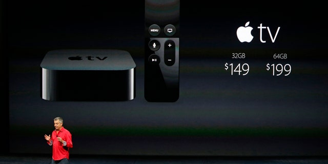 Eddy Cue, Apple's senior vice president of Internet Software and Services, discusses Apple TV pricing during an Apple media event in San Francisco, California, Sept. 9, 2015.