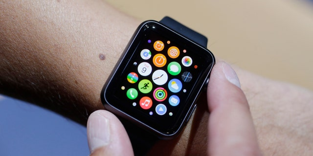 The new Apple Watch is shown during a new product release on Sept. 9, 2014.