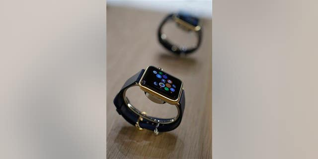 The Apple Watch is displayed on Tuesday in Cupertino, Calif.