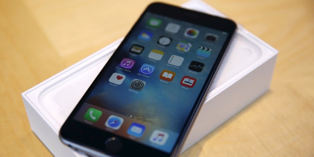 An iPhone 6s Plus is seen at the Apple retail store in Palo Alto, Calif. Sept. 25, 2015.