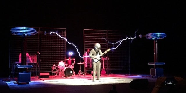 """ArcAttack performed with their """"singing"""" Tesla coils on April 23, 2016, at the Smithsonian magazine's """"Future Is Here"""" festival."""