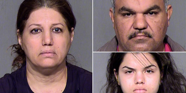 Yusra Farhan, left, is charged with beating her daughter. Mohammed Altameemi, top right, and Tabarak Altameemi also are charged with assault.
