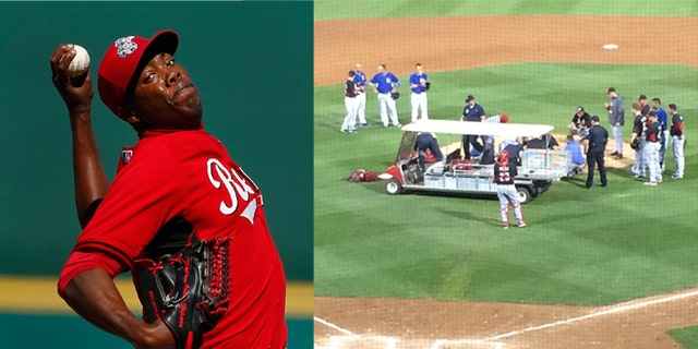 In this image (right) provided by Mark Sheldon Cincinnati Reds closer Aroldis Chapman is taken off the field after being hit by a line drive Wednesday night March 19, 2014, another frightening incident involving a pitcher being struck by a batted ball. Chapman broke bones above his left eye and nose. He is undergoing further testing at Banner Good Samaritan Medical Center, where he will spend the night for observation, according to a statement from the Reds.