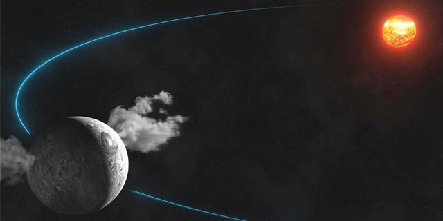 This artist rendering shows water plumes spewing from the surface of the dwarf planet Ceres. Scientists led by the European Space Agency observed the plumes and reported their findings in the Jan. 23, 2014 issue of the journal Nature.
