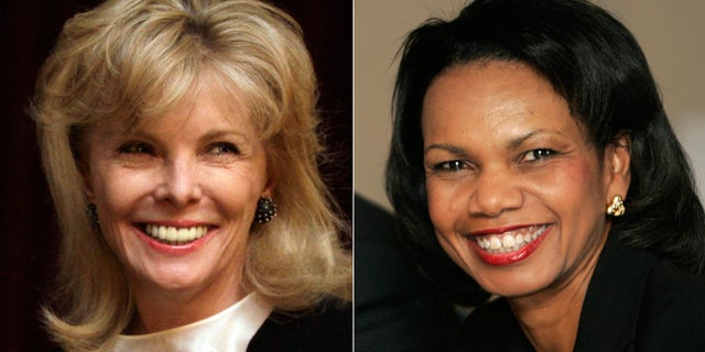 At left, in a March 24, 2011 file photo, Darla Moore speaks to students at the University of South Carolina in Columbia, S.C. At right, in a Jan. 24, 2008 file photo, U.S. Secretary of State Condoleeza Rice smiles during a meeting with trade union leaders in Medellin, Colombia.