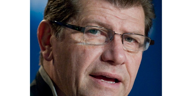 FILE - Connecticut head coach Geno Auriemma speaks during an NCAA women's college basketball news conference in Bridgeport, Conn.