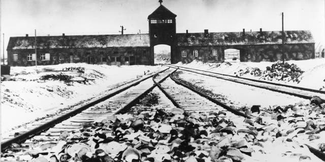 This January 1941 file photo shows entry to the concentration camp Auschwitz-Birkenau in Poland, with snow-covered railtracks leading to the camp. The Auschwitz-Birkenau camp was the largest camp where people were terminated during the fascist regime rule of dictator Adolf Hitler over Germany during World War II.