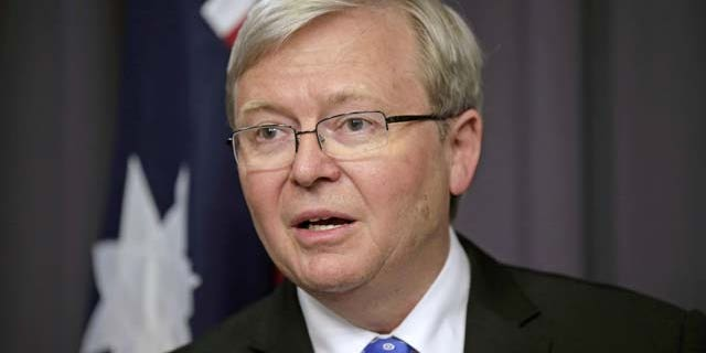 In this file photo, Kevin Rudd speaks to the media following a leadership ballot for the Labour Party at parliament in Canberra, Australia.  (AP Photo)