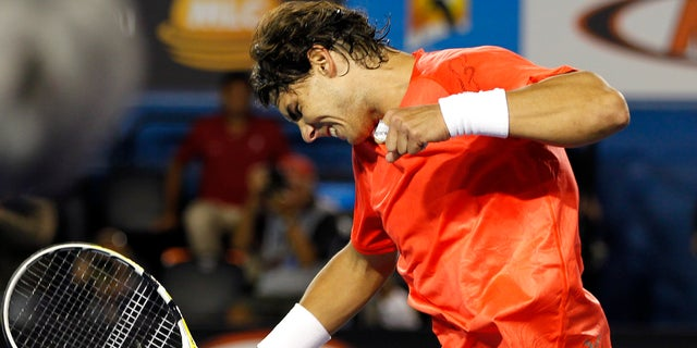 Jan. 24: Rafael Nadal of Spain celebrates after beating Marin Cilic of Croatia during their fourth round match at the Australian Open tennis championships in Melbourne, Australia.