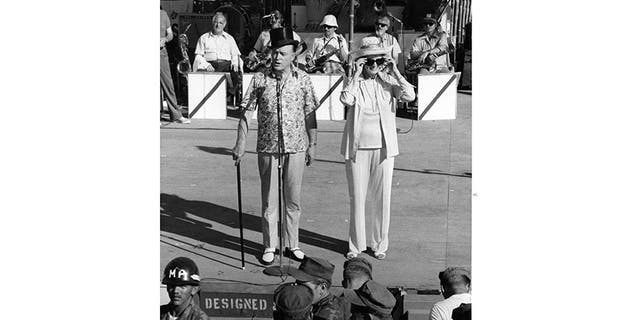 Bob Hope (left) entertaining the troops.