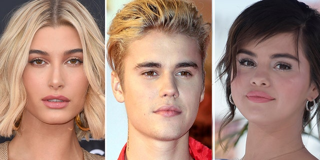 Hailey Baldwin, left, and Justin Bieber, center, are engaged. Selena Gomez, right, dated Bieber on-and-off for years.